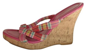 Bakers Plaid Cork Pink Wedges
