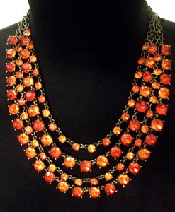 The Limited THE LIMITED orange red multi color statement necklace