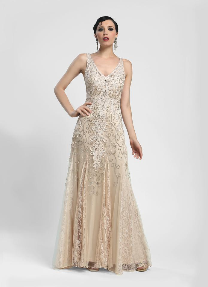 Sue Wong Champagne N4164 Art Deco Style Vintage Wedding Dress Size 4 ...