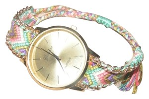 Geneva Bohemian Colorful Weaved Gold Tone Quartz Watch Free Shipping