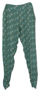 Tucker Silk Beach Vacation Animal Print Relaxed Pants Jade Green