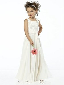 Dessy Ivory Chiffon Sleeveless Flower Girl Traditional Bridesmaid/Mob Dress Size 4 (S)