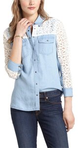 Anthropologie Long Sleeve Woven Button Down Shirt Blue