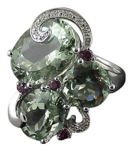 Other 14.45ct Prasiolite and Garnet Sterling Silver