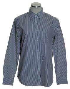 Jones New York No Iron Striped Long Sleeve Button Down Shirt Gray