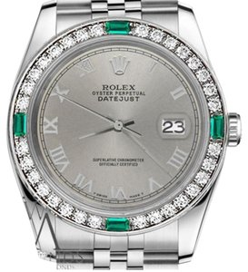 Rolex Women's Rolex 31mm Datejust Stainless S/S Emerald Grey Roman Numeral Dial Watch