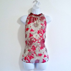 Liberty of London for Target High Neck Ruffle Ruffles Pink Top Pink Floral