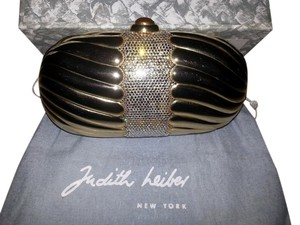 Judith Leiber Evening Minaudiere Coctail Gold with Crystals Clutch
