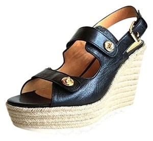 Coach Platforms Sandals Open Toe Black Wedges