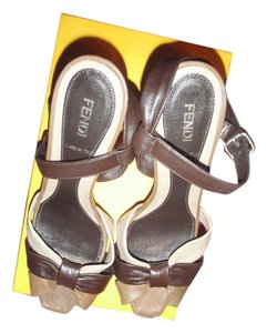 Fendi Formal Size Crisscross Strap Tan Platforms