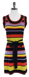 MILLY short dress Black Orange Purple Midi Knit on Tradesy