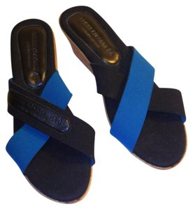 Comme ci Comme CA Wedge Cork Sole Like New Black and teal Sandals