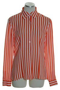 MICHAEL Michael Kors 100% Silk Striped Button Down Shirt Orange