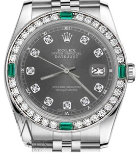 Rolex Women's Rolex 31mm Datejust Dark GreyColor Dial with Emerald Diamond Accent Watch