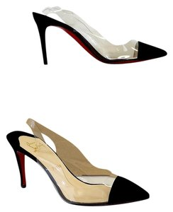 Christian Louboutin Black Suede Clear Slingback Heels Sandals