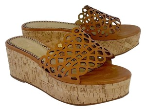 Tory Burch Tan Perforated Leather Cork Platforms