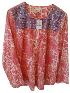 J.Crew Embroidered Floral Tunic Top POZZOLI PINK