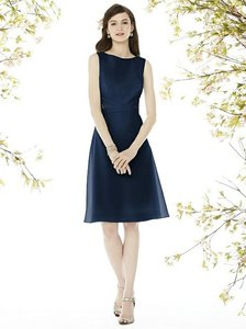 a40ed1a261e Social Bridesmaids Midnight Navy Nu-georgette 8160 Traditional Bridesmaid Mob  Dress Size 6 (