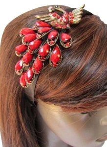 Other Women Fashion Black Headband Big Peacock Red Hair Accessory