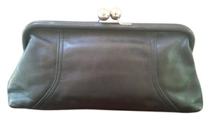 Tignanello Evening Leather Silver Hardware Night Out Retro Black Clutch