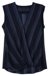 Ann Taylor Sleeveless Wrap Pinstripe Professional Top Navy Blue with White Stripes