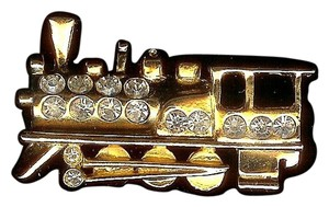Unknown Unbranded Vintage Gold-Plated Train w/Crystals Pin/Brooch