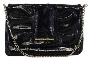 Elaine Turner Black Patent Leather Gold Chain Cross Body Bag