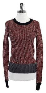 Alexander Wang Red Black Knit Long Sleeve Sweater