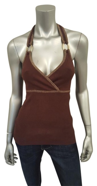 Item - Brown/Gold Metallic Knit Night-out Halter Top Size 12 (L)