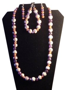 Handmade Handmade Purple,White,Orange Glass and Crystal Bead Necklace Set