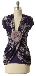 Anthropologie Purple Rosette Draped Deletta Top