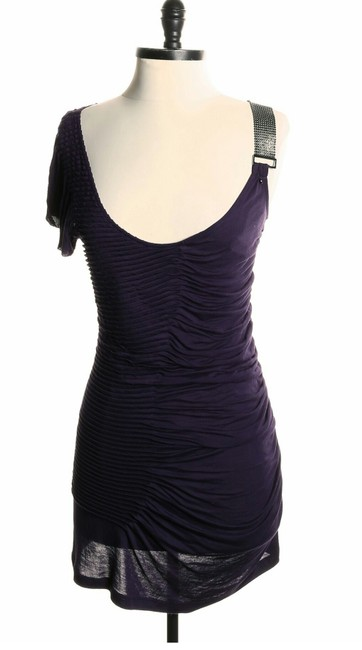 Guess Ruched Rhinestone One Shoulder Rayon Dress