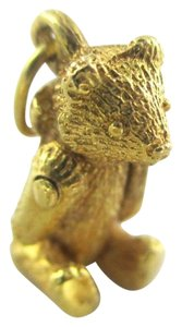 14KT SOLID YELLOW GOLD PENDANT AC DESIGNER 3D TEDDY BEAR MOVEABLE VINTAGE 3.2 G