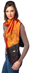 Fandori Fandori Embroidered Pure Silk Scarf - Orange and Black
