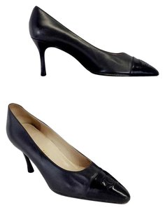 Chanel Black Leather Logo Cap Toe Heels Pumps