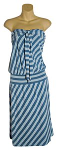 Ella Moss short dress Blue Stripped Strapless on Tradesy