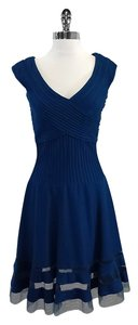 Tadashi Shoji short dress Blue Pintuck Mesh Panel on Tradesy