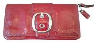 Coach Patent Leather Silver Hardware Night Out Wristlet in Red