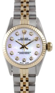 Rolex Rolex Ladies No Date Two-Tone White Mother of Pearl Diamond Watch 67193