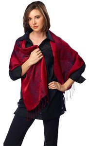 Fandori Fandori Silk Scarf with Contrasting Color-Red/black