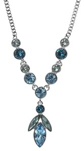 Givenchy Swarovski elements blue marine crystals sets in silver tone necklace