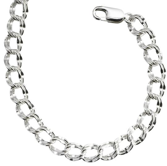 Other Sterling Silver 7mm Dapped Double-Cable Charm Bracelet