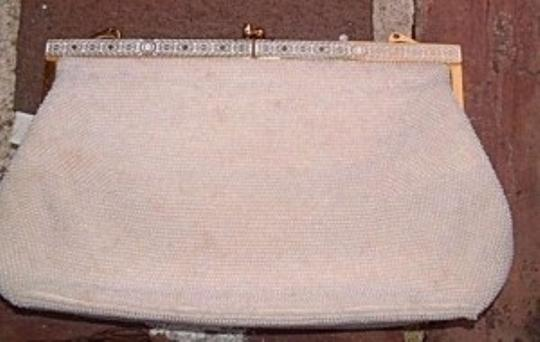 Vintage Handbag Satin Purse Gold Classic Wedding Dinner Prom white beaded Clutch
