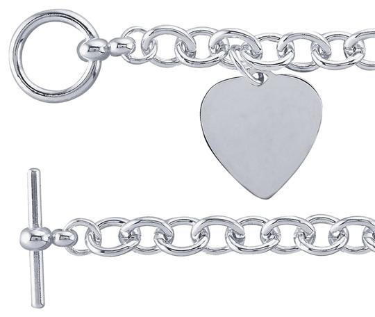 Other Sterling Silver 8.2mm Cable Chain Bracelet with Heart Plaque Charm