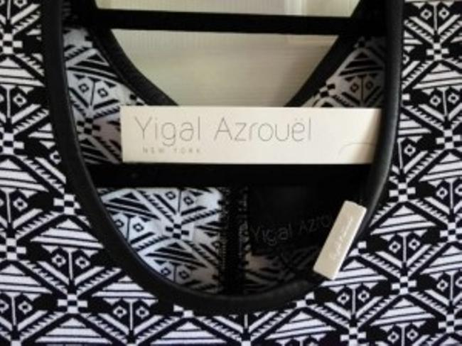 Yigal Azrouël short dress Black and White Leather Printed on Tradesy