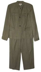 Talbots Talbots silk linen blend khaki green pants suit