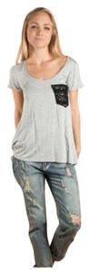 Crochet Scoop Neck Soft T Shirt Gray and black