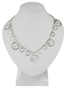 Sterling Silver Cable Necklace with Circle Drops and Freshwater Cultured Pearl Drops