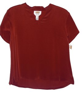 Talbots Silk Vneck Top Burgundy