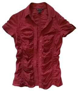 Mango Button Down Shirt Burgundy